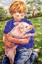 Child * Boy * Pig * Piggy *  O/E Print  ACEO  by Vicki