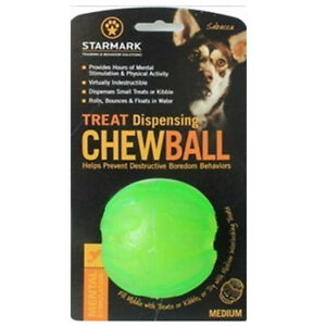 StarMark Everlasting Fun Ball MEDIUM Treat Dispensing Chew Ball Rubber Dog Toy