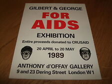 GILBERT AND GEORGE-FOR AIDS EXHIBITION-SIGNED-1ST-1989-PB-F-UNREAD-RARE