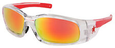 MCR CREWS SWAGGER SR14R CLEAR/RED FRAME WITH FIRE MIRROR LENS SAFETY GLASSES