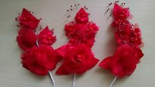 Set of 3 Red Satin Roses with Pearl Spray - NEW - Boutonniere, Corsage, Bouquet