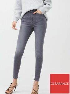 """V BY VERY LADIES HIGH RISE SKINNY JEANS GREY SIZE 18 LENGTH 29"""" NEW (ref 620)"""
