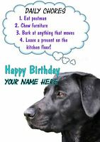 Black Labrador Rules Birthday PIDS37 A5 Personalised Card Dad mum son Any name
