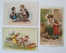 3 Victorian Trade Cards, non advertising of children - Cute