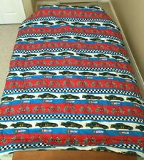 "Vintage NASCAR Reversible Comforter Coverlet Blanket Twin Size 62""x85"" Race Car"
