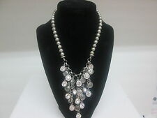 Necklace-Bib Style Statement faux GRAY Pearls  white crystals silver toned discs