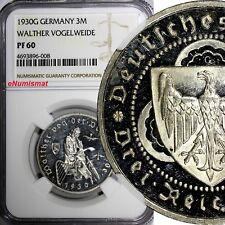 Germany Silver PROOF 1930 G 3 Reichsmark NGC PF60 Death Von Der Vogelweide KM#69
