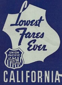 1936/1937 Union Pacific Fare Table-Midwest To California & Pacific Northwest