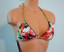 NWT Guess Reversible Blue Jean Hawaiian Floral Bikini Swimsuit Top Medium $47