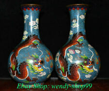 "10"" Marked Old Chinese Copper Cloisonne Dynasty Dragon Flower Bottle Vase Pair"
