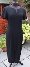 Vintage Dress Black Maxi 1980s Padded Shoulders Cocktail dress Front Splitused