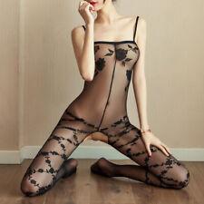 Sexy Damen Bodystocking Blumen Reizwäsche Babydoll Body Stocking Catsuit Schwarz