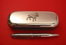 English Bull Terrier Motif On Chrome Pen Box + Ball Point Pen Mum Dad Xmas Gift