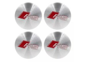 4 x Audi RS Alloy Wheel Hub Centre Caps 56mm Brushed Alloy Self Adhesive 🇬