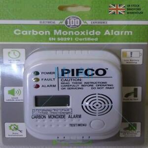 PIFCO 7 Year Life Digital Carbon Monoxide Detector / CO Alarm + Batteries