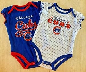 *Set of 2* Chicago Cubs Ruffle Sleeve Snap-bottom Bodysuits Size 3-6 Month New