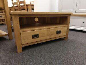 Baysdale Rustic Oak 2 Drawer Corner TV Unit / Stand / Country Media Cabinet