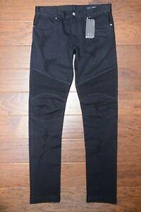 Armani Exchange A|X J27 Men's Skinny Biker Black Stretch Ripped Cotton Jeans 30