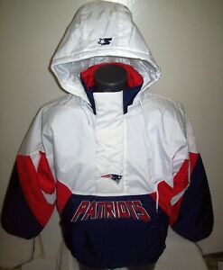 NEW ENGLAND PATRIOTS Limited Ed Starter Hooded Half Zip Pullover Jacket WHITE