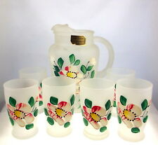 Vintage Hansetta Artware frosted juice pitcher and 6 glasses hand painted