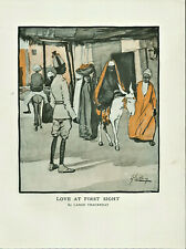 Antique Colour Illustrated Print Love At First Sight By Lance Thackeray c1907