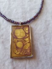 Handmade BEADED Necklace with RECTANGLE pendant of GOLD and PURPLE