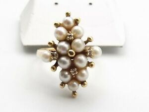Vtg 14K Gold Cultured Pearl Cluster Diamond Ring Sz 6 Estate 12 Small Pearls