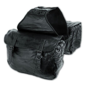 Saddlebag Soft Leather Bag Throw Over Panniers Pair Motorbike Motorcycle
