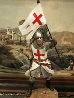 """Hand Painted Medieval Crusader Knight With Flag & Sword Figure Gift 19 cm/7.5 """""""