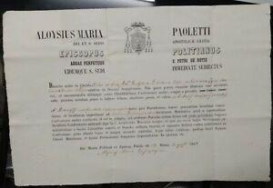 1868 226) MONTEPULCIANO CERTIFICATO AUTOGRAFO DEL VESCOVO PAOLETTI