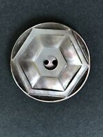 Vintage Mother of Pearl Button Hexagon Design Round 2 Hole Sew Thru Size 1-1/2""