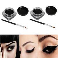 2 pièces Mini eye-liner gel crème avec brosse maquillage cosmétique noir Life