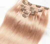 Luxury Clip In Human Hair Extensions Rose Gold Silky Straight Pink 7pcs 120g