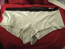 NWT - Cacique - Boy Short - 26 / 28 - Gray W/ Black Lace Trim