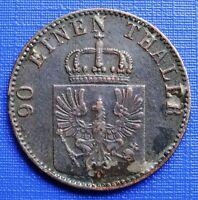 German States Prussia 4 Pfennig~1863 (A) Wilhelm III~KM#483~Copper 6g~VF~#539