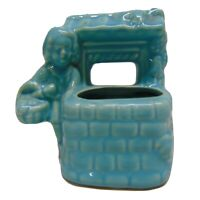 USA Pottery Planter Little Girl At Wishing Well Turquoise Green Shiny Glaze