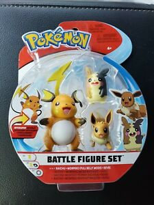 Pokemon Battle Figure Set 3 Pack Raichu Eevee Full Belly Mode Morpeko Sealed