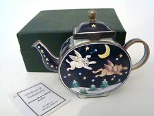 KELVIN CHEN Enamel Hinged Miniature Teapot Dog and Cat Angels ENK672