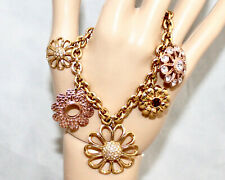 COACH 96294 Gold & Rose Gold Daisy Mixed Flower Charm Bracelet $198