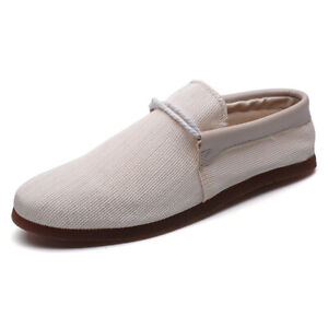 Mens Casual Round Toe Breathable Pumps Loafers Comfy Canvas Driving Flats Shoes