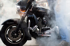 HARLEY DAVIDSON MOTORCYCLE BURN OUT LARGE HD POSTER -  LARGE PHOTOGRAPHY