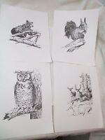 Vintage 1972 4 Art Prints Wildlife Louise Lopina Bear Deer Owl Squirrel