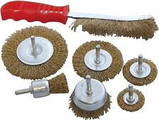 AM-Tech 7pc Set Spazzola METALLICA RUOTA IN OTTONE Hand Brush ROTARY DRILL di pulizia F3610