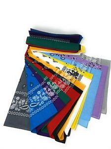 LOT OF 12 PCS Mix Color Bandana Head Wrap Scarf 100% Cotton