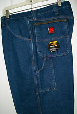 WRANGLER RIGGS WORKWEAR  Medium Blue Denim Carpenter Work Jeans NWT 38x30 $60