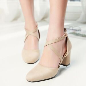 UK Ladies Ankle Strap Pumps Block Heels Cross Strap Casual Shoes Spring Size New
