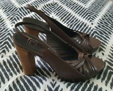 COUNTRY ROAD Platform Brown Wood Timber Full Leather High Heels Open Toe Size 39