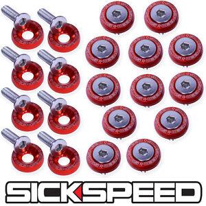 RED 20 PC BILLET ALUMINUM FENDER/BUMPER WASHER/BOLT ENGINE BAY DRESS UP P2