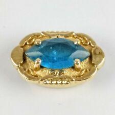 Vintage Richard Glatter RGVS 14K Yellow Gold Marquise December Blue Topaz Slide