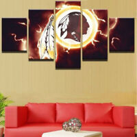5 pcs Washington Redskins Football Painting Printed Canvas Wall Art Home Decor